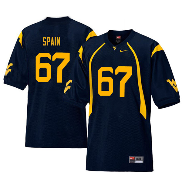 Men #67 Quinton Spain West Virginia Mountaineers Retro College Football Jerseys Sale-Navy